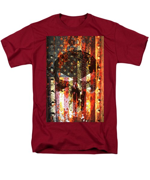 Punisher Skull On Rusted American Flag Men's T-Shirt  (Regular Fit) by M L C
