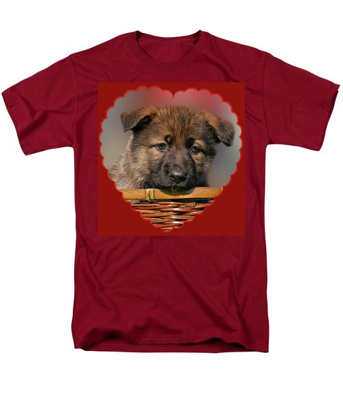 Men's T-Shirt  (Regular Fit) featuring the photograph Puppy In Red Heart by Sandy Keeton
