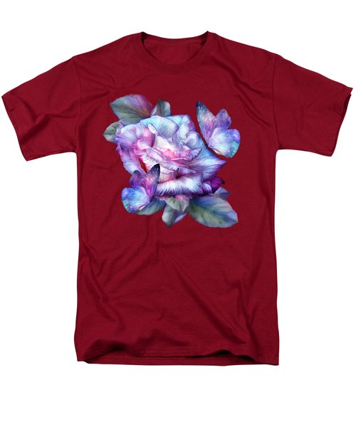 Men's T-Shirt  (Regular Fit) featuring the mixed media Purple Rose And Butterflies by Carol Cavalaris