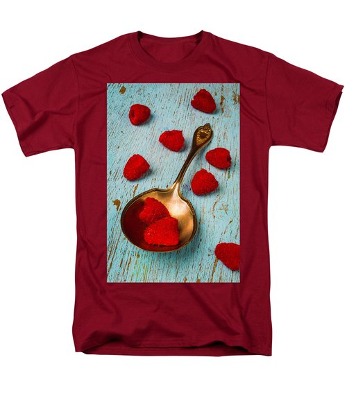 Raspberries With Antique Spoon Men's T-Shirt  (Regular Fit) by Garry Gay
