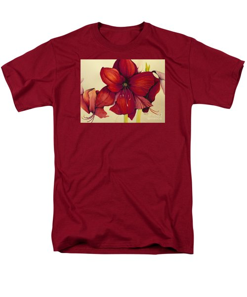 Men's T-Shirt  (Regular Fit) featuring the painting Red Christmas Amaryllis by Rachel Lowry