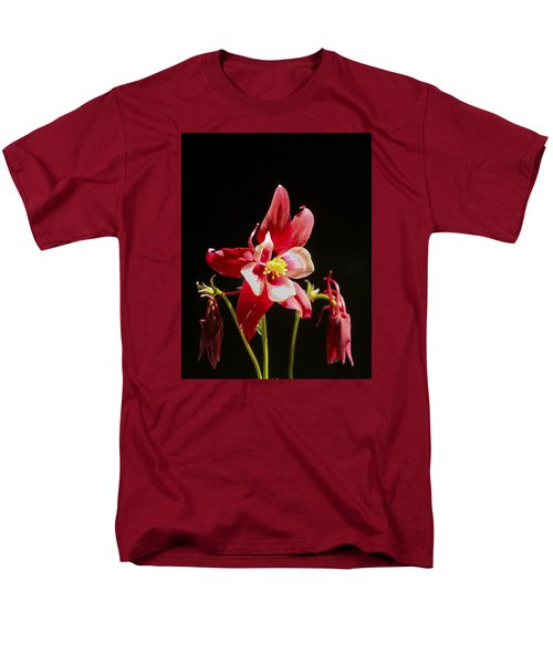 Red Columbine Flower Men's T-Shirt  (Regular Fit) by Christina Lihani