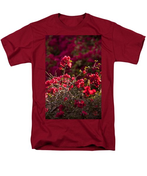 Men's T-Shirt  (Regular Fit) featuring the photograph Red Flowering Quince Schrub by Daniel Hebard