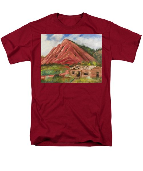 Men's T-Shirt  (Regular Fit) featuring the painting Red Hill And Cabin by Sherril Porter
