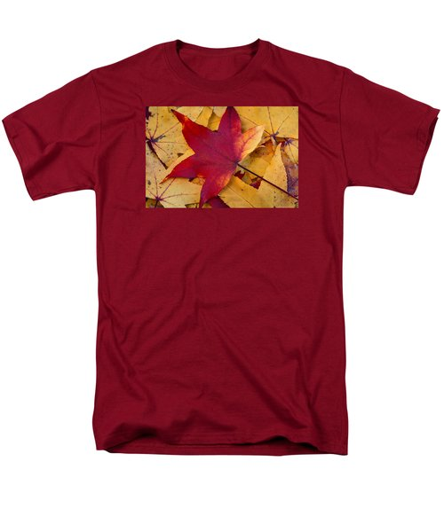 Men's T-Shirt  (Regular Fit) featuring the photograph Red Leaf by Chevy Fleet