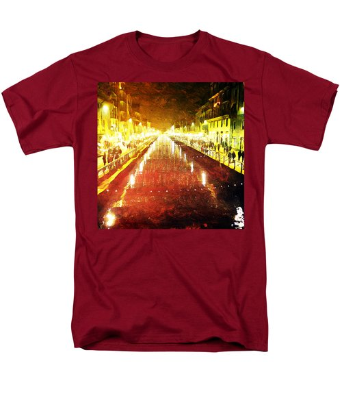 Men's T-Shirt  (Regular Fit) featuring the digital art Red Naviglio by Andrea Barbieri