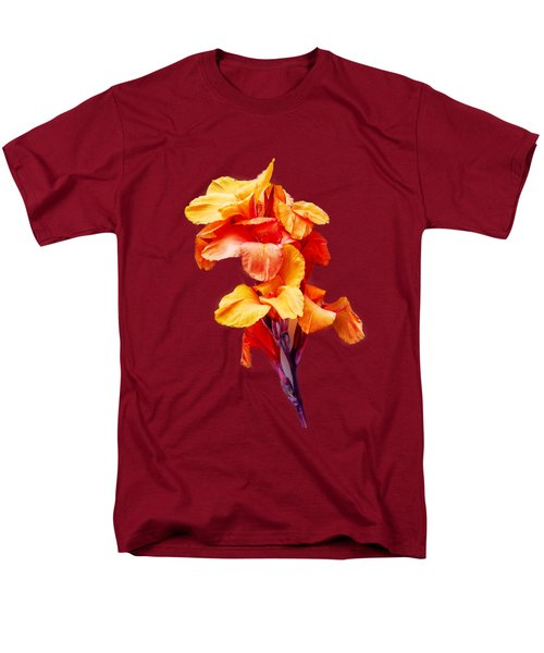 Men's T-Shirt  (Regular Fit) featuring the photograph Red Orange Canna Blossom Cutout by Linda Phelps