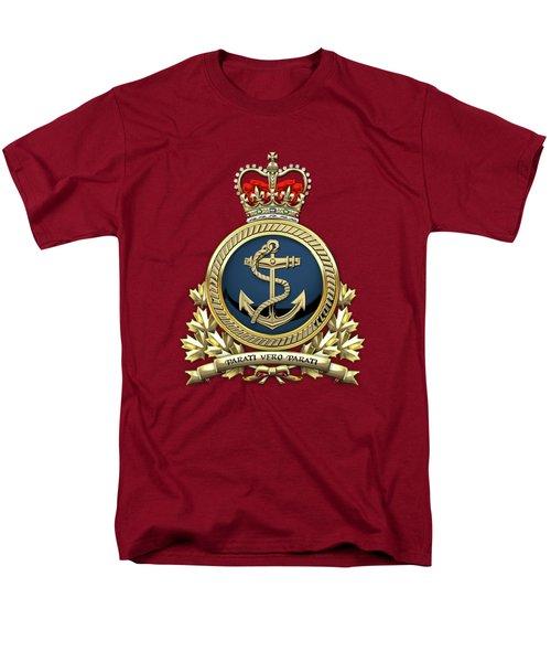 Men's T-Shirt  (Regular Fit) featuring the digital art Royal Canadian Navy  -  R C N  Badge Over Red Velvet by Serge Averbukh