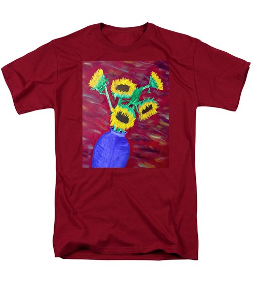 Men's T-Shirt  (Regular Fit) featuring the painting Sunflowers In A Purple Vase by Brenda Pressnall