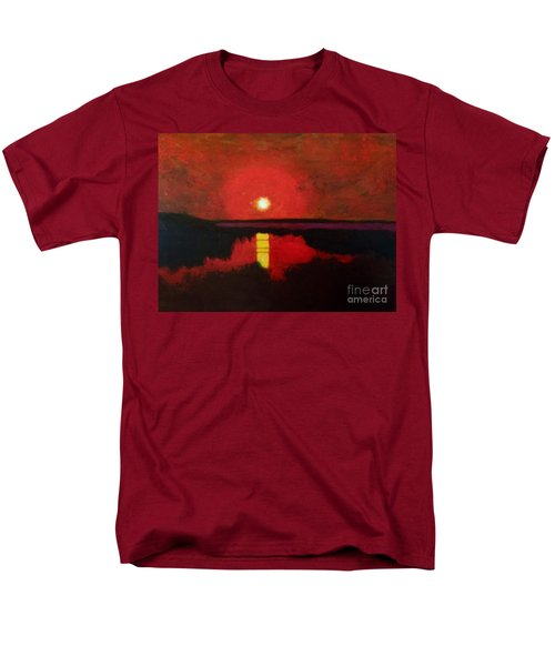 Men's T-Shirt  (Regular Fit) featuring the painting Sunset On The Lake by Donald J Ryker III