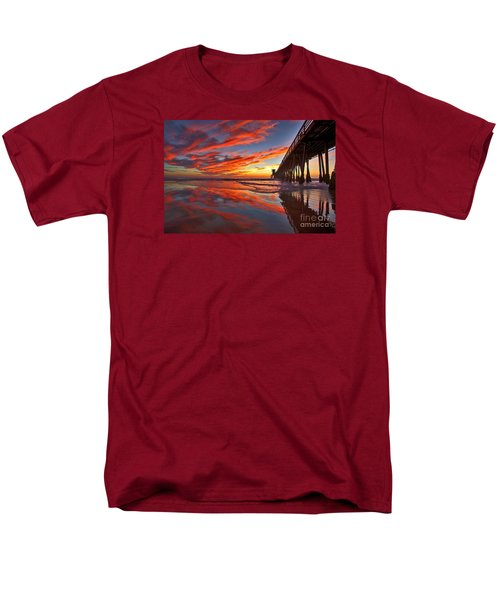 Sunset Reflections At The Imperial Beach Pier Men's T-Shirt  (Regular Fit) by Sam Antonio Photography