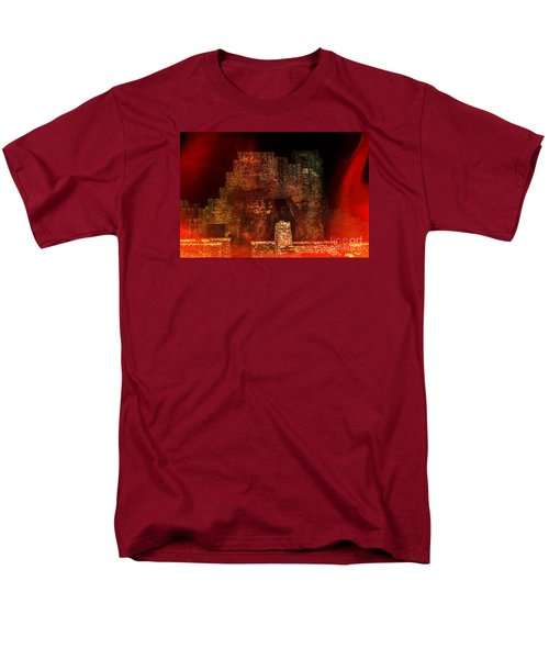 Men's T-Shirt  (Regular Fit) featuring the photograph The Ghostly Ruins Of An Elizabethan Fireplace by Linsey Williams