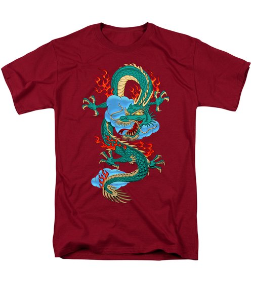 The Great Dragon Spirits - Turquoise Dragon On Red Silk Men's T-Shirt  (Regular Fit) by Serge Averbukh
