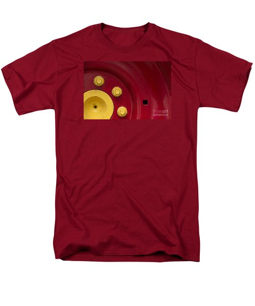 Three Yellow Nuts On A Red Wheel Men's T-Shirt  (Regular Fit) by Wendy Wilton
