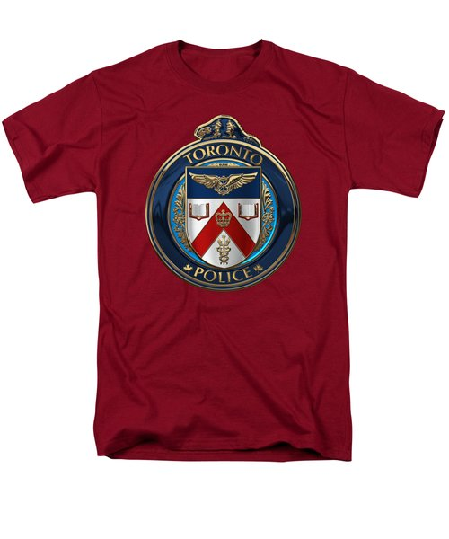 Men's T-Shirt  (Regular Fit) featuring the digital art Toronto Police Service  -  T P S  Emblem Over Red Velvet by Serge Averbukh