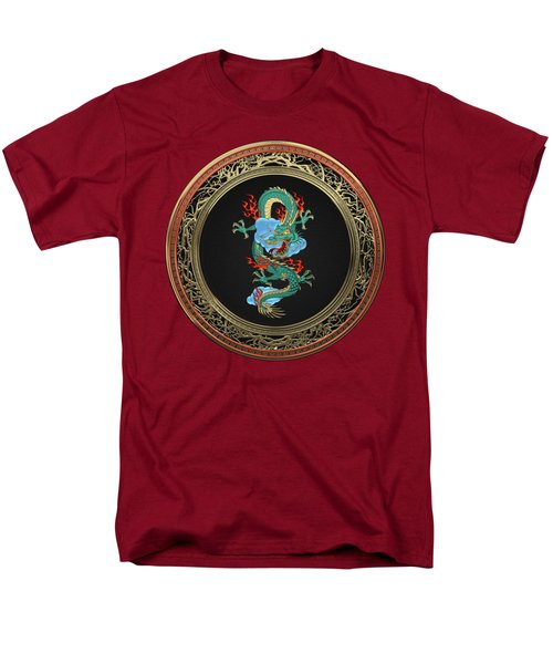 Treasure Trove - Turquoise Dragon Over Red Velvet Men's T-Shirt  (Regular Fit)