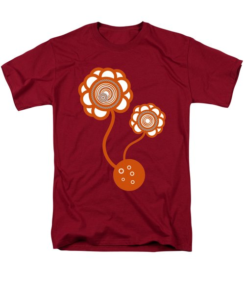 Men's T-Shirt  (Regular Fit) featuring the drawing Two Orange Flowers by Frank Tschakert