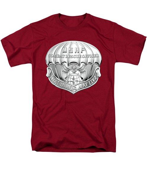 U. S.  Air Force Combat Rescue Officer - C R O Badge Over Maroon Felt Men's T-Shirt  (Regular Fit) by Serge Averbukh