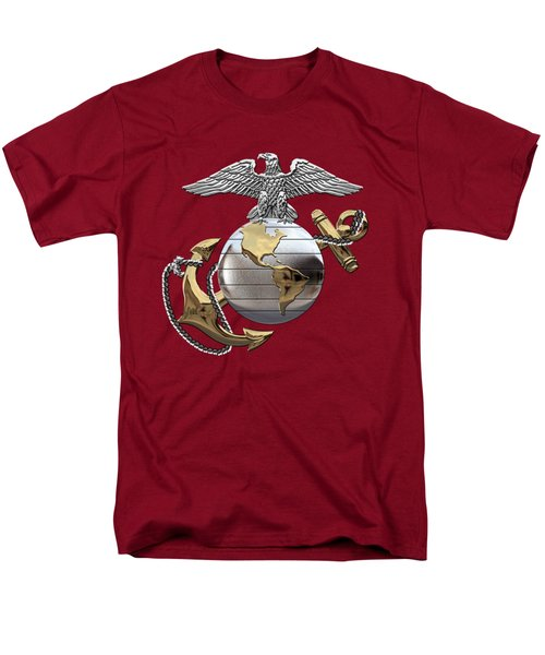 U S M C Eagle Globe And Anchor - C O And Warrant Officer E G A Over Red Velvet Men's T-Shirt  (Regular Fit) by Serge Averbukh