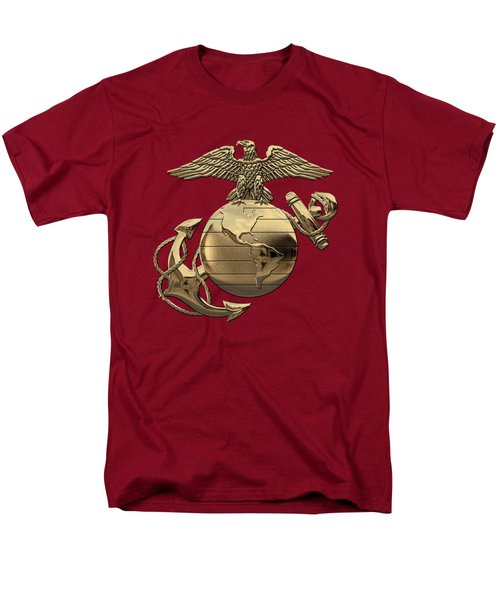 U S M C Eagle Globe And Anchor - N C O And Enlisted E G A Over Red Velvet Men's T-Shirt  (Regular Fit) by Serge Averbukh