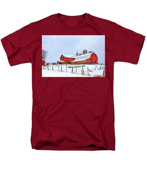 Men's T-Shirt  (Regular Fit) featuring the digital art Vermont Barn by Sharon Batdorf