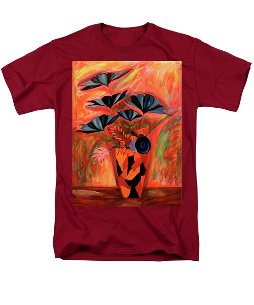 Men's T-Shirt  (Regular Fit) featuring the painting Wild Flowers  A Still Life  by Iconic Images Art Gallery David Pucciarelli