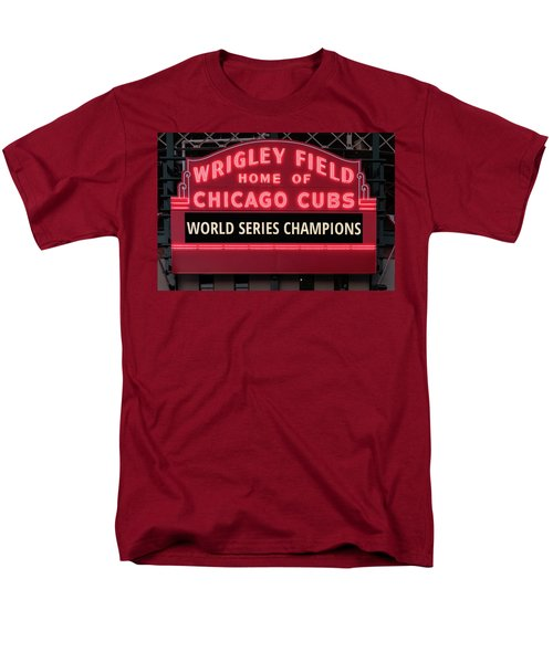 Wrigley Field Marquee Cubs World Series Champs 2016 Front Men's T-Shirt  (Regular Fit) by Steve Gadomski