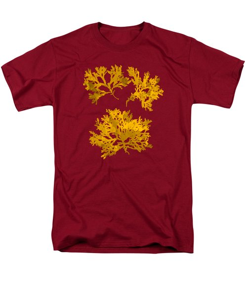 Men's T-Shirt  (Regular Fit) featuring the mixed media Yellow Gold Seaweed Art Delesseria Alata by Christina Rollo