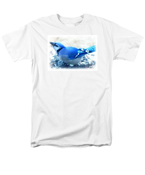 Bright Blue Jay  Men's T-Shirt  (Regular Fit) by Peggy Franz