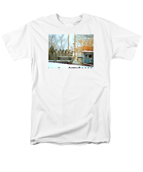 Men's T-Shirt  (Regular Fit) featuring the photograph 7 Winter Sparrows by Deborah Moen