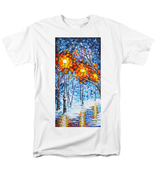 Men's T-Shirt  (Regular Fit) featuring the painting  Silence Winter Night Light Reflections Original Palette Knife Painting by Georgeta Blanaru