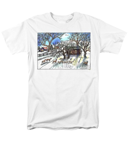 Wyoming Winter Street Scene Men's T-Shirt  (Regular Fit) by Dawn Senior-Trask