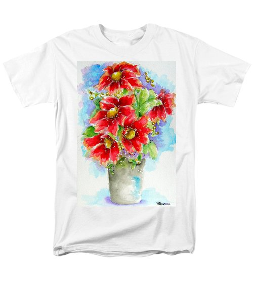 Men's T-Shirt  (Regular Fit) featuring the painting Red Flowers by Patrice Torrillo