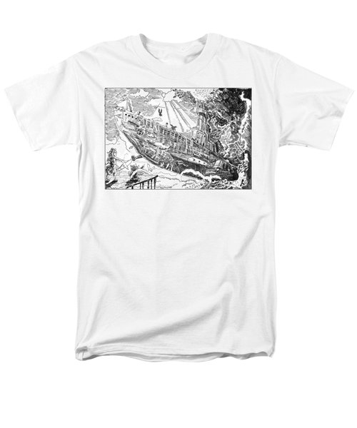 Men's T-Shirt  (Regular Fit) featuring the drawing The Flying Submarine by Reynold Jay