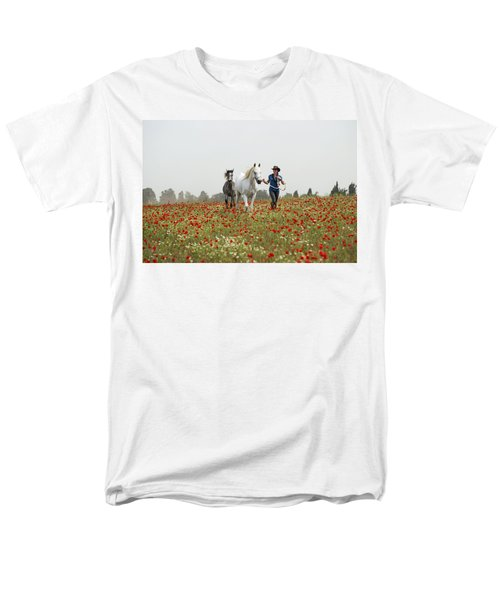 Men's T-Shirt  (Regular Fit) featuring the photograph Three At The Poppies' Field... 3 by Dubi Roman