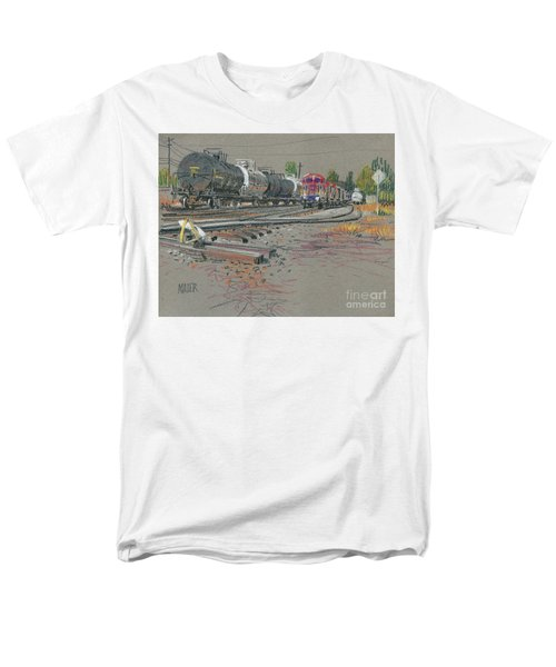 Men's T-Shirt  (Regular Fit) featuring the drawing Train's Coming by Donald Maier