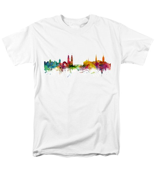 Zurich Switzerland Skyline Men's T-Shirt  (Regular Fit) by Michael Tompsett