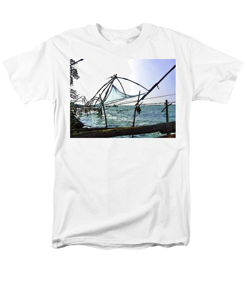 Fishing Nets On The Sea Coast In Alleppey Men's T-Shirt  (Regular Fit) by Ashish Agarwal