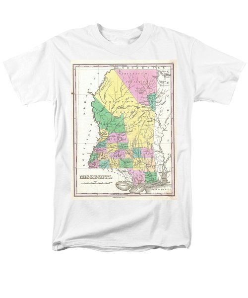 1827 Finley Map Of Mississippi Men's T-Shirt  (Regular Fit) by Paul Fearn