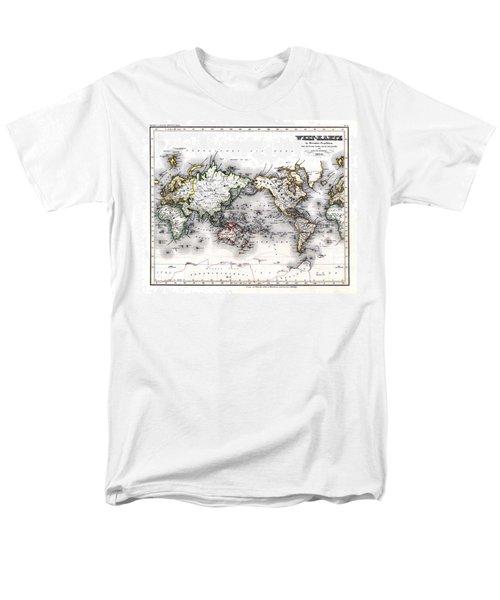 Men's T-Shirt  (Regular Fit) featuring the photograph 1850 Antique World Map Welt Karte In Mercators Projektion by Karon Melillo DeVega