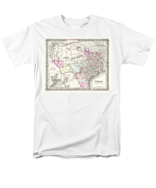 1855 Colton Map Of Texas Men's T-Shirt  (Regular Fit) by Paul Fearn