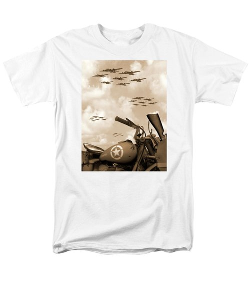 Men's T-Shirt  (Regular Fit) featuring the photograph 1942 Indian 841 - B-17 Flying Fortress' by Mike McGlothlen