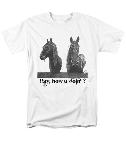 Men's T-Shirt  (Regular Fit) featuring the drawing Hay How U Doin by Marianne NANA Betts