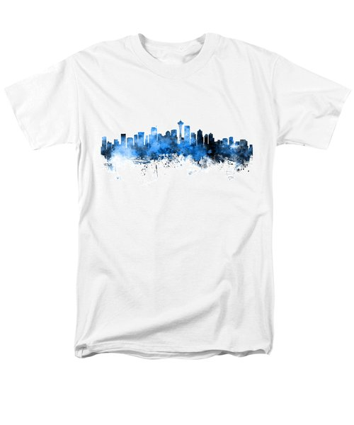 Seattle Washington Skyline Men's T-Shirt  (Regular Fit) by Michael Tompsett