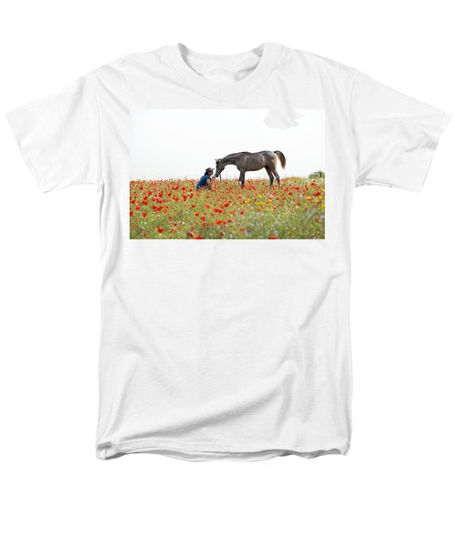 Men's T-Shirt  (Regular Fit) featuring the photograph Three At The Poppies' Field... 4 by Dubi Roman