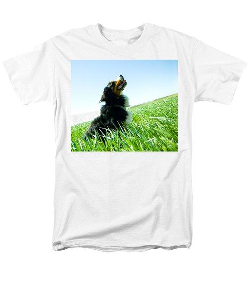 A Cute Dog On The Field Men's T-Shirt  (Regular Fit) by Michal Bednarek