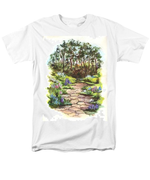 Men's T-Shirt  (Regular Fit) featuring the painting Down The Garden Pathway  by Carol Wisniewski