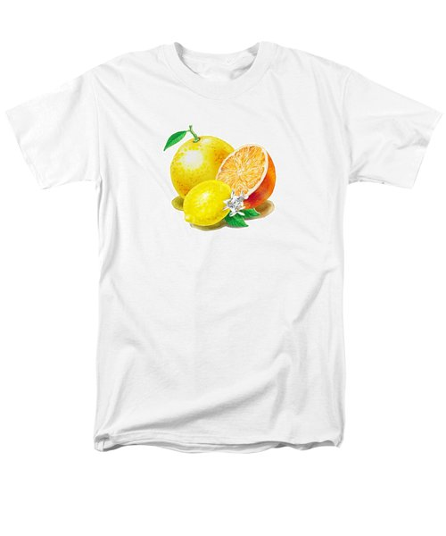 Men's T-Shirt  (Regular Fit) featuring the painting A Happy Citrus Bunch Grapefruit Lemon Orange by Irina Sztukowski