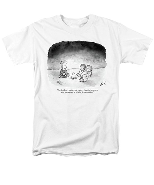 A Man And 3 Children Sit Around A Fire Men's T-Shirt  (Regular Fit) by Tom Toro