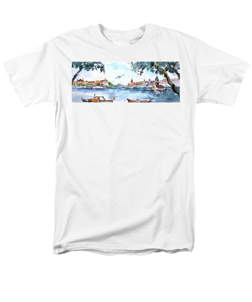 Men's T-Shirt  (Regular Fit) featuring the painting A View Of The Historical Peninsula From Uskudar - Istanbul by Faruk Koksal